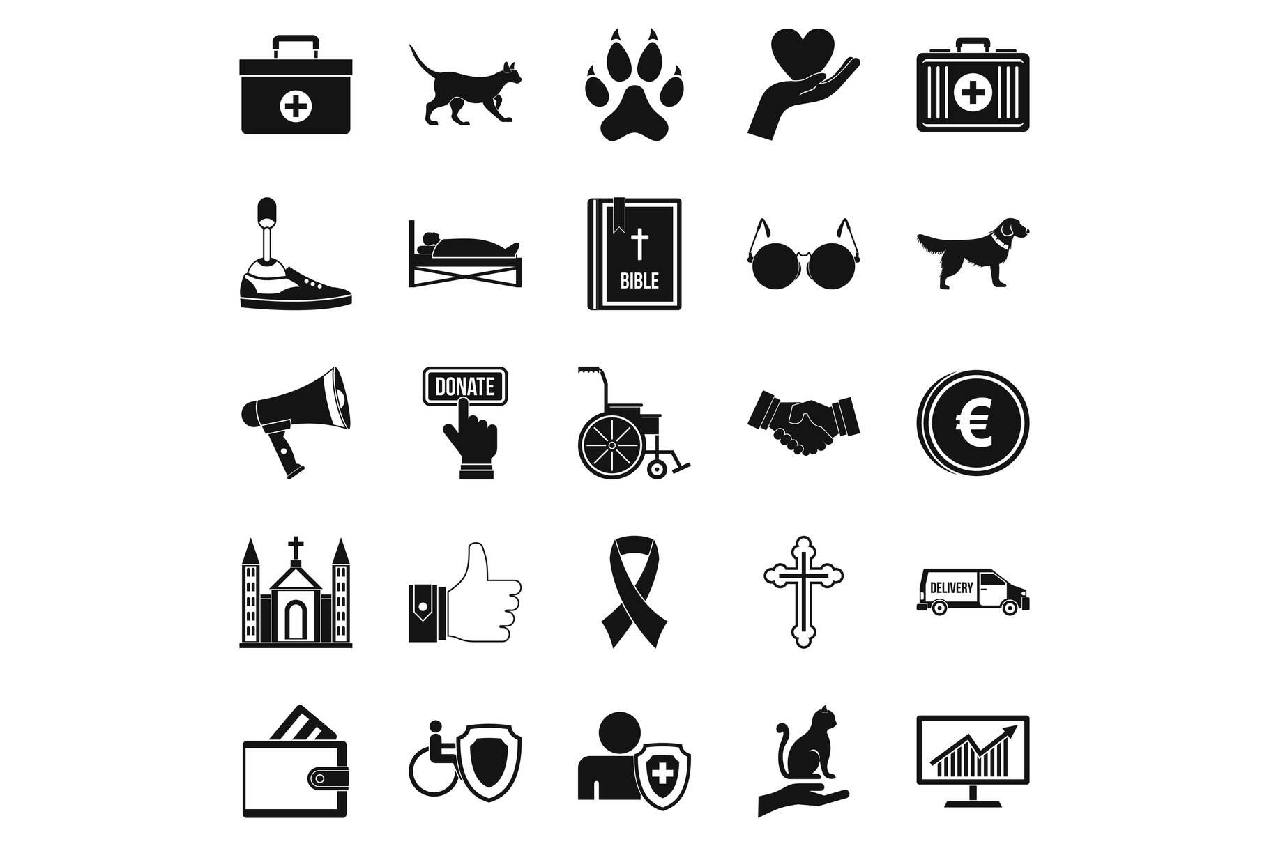 Welfare icons set, simple style example image 1