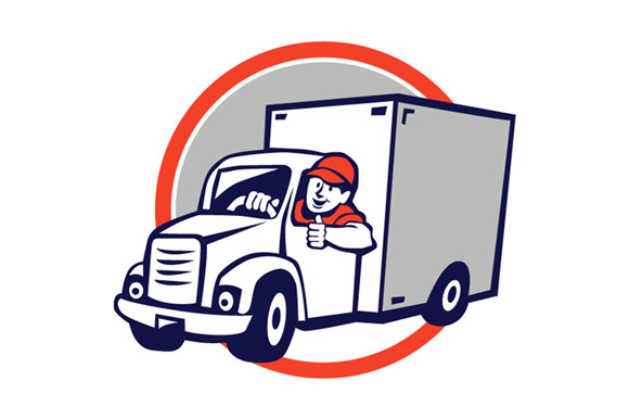 Delivery Van Driver Thumbs Up Circle Cartoon example image 1