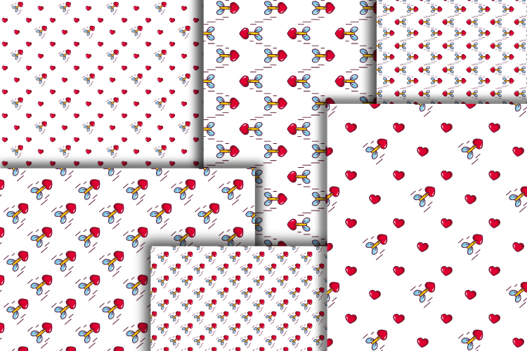Hearts digital paper. Valentine's day seamless patterns example image 3