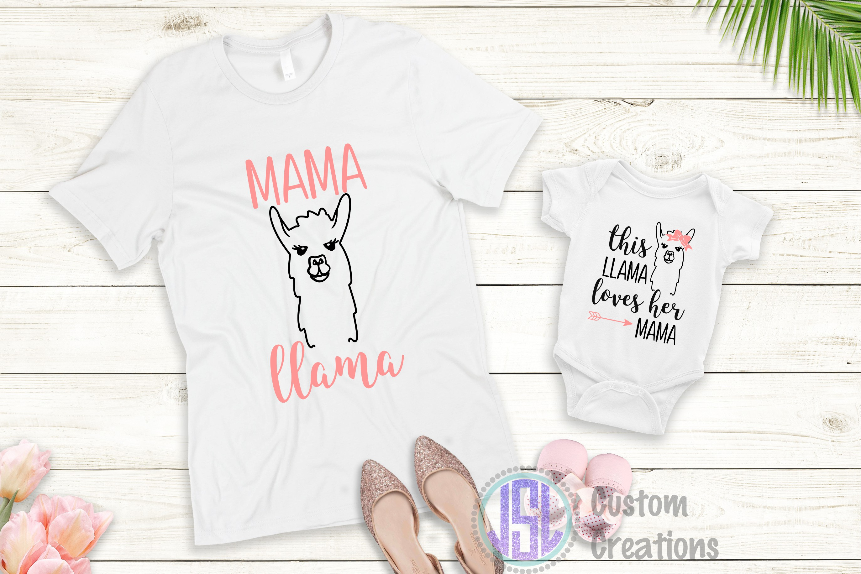 Mother Daughter Set of 2 | Llama | SVG DXF EPS PNG Cut Files example image 4