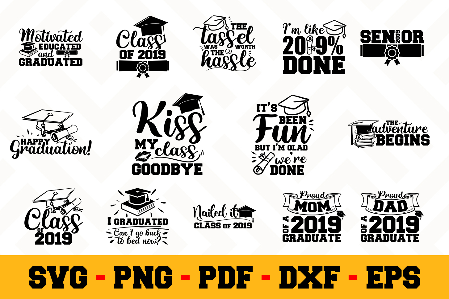 Graduation 14 Designs Pack | Graduation SVG Bundle example image 1