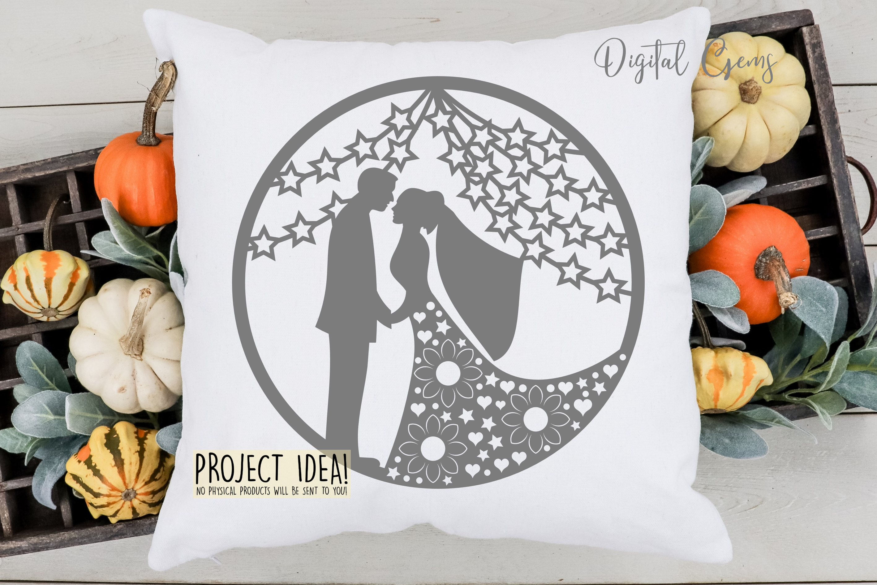 Wedding paper cut design. SVG / PNG / DXF / EPS files example image 6