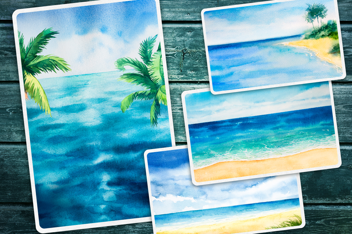 Seascapes 2. Watercolor set. example image 5