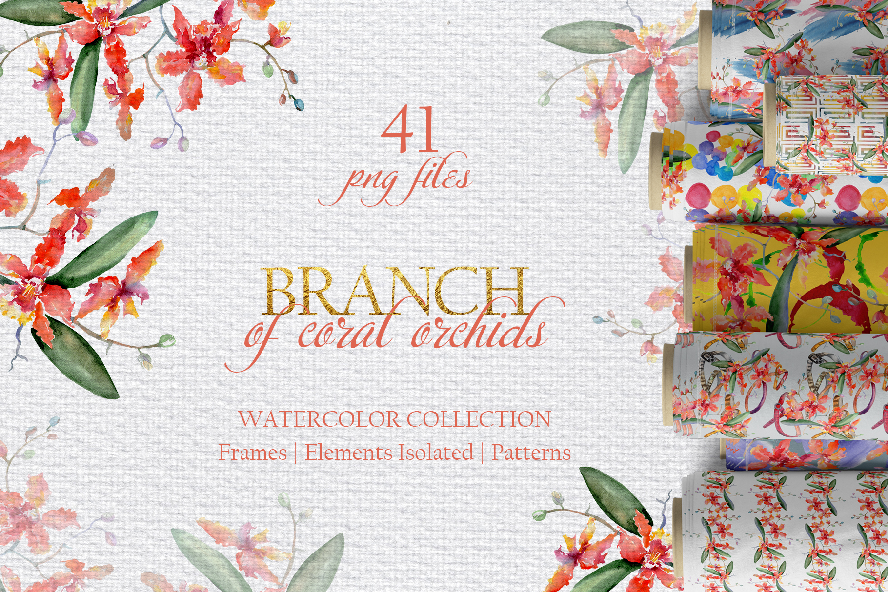Branch of coral orchids Watercolor png example image 1