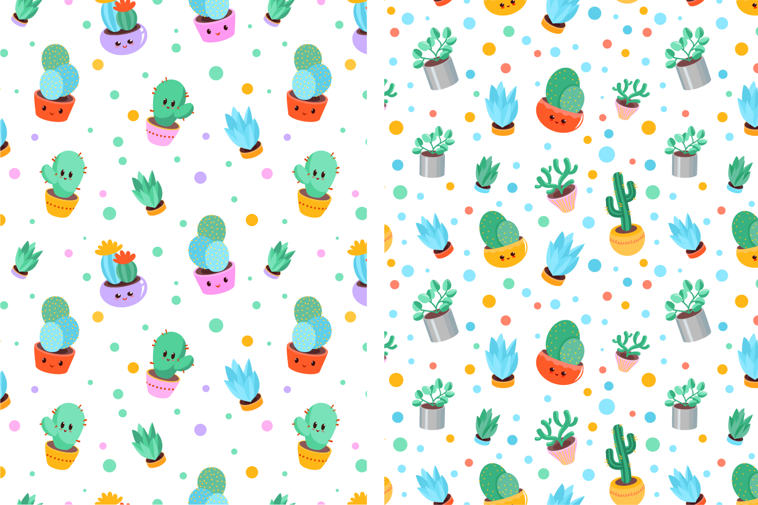 4 Cacti seamless vector patterns example image 4