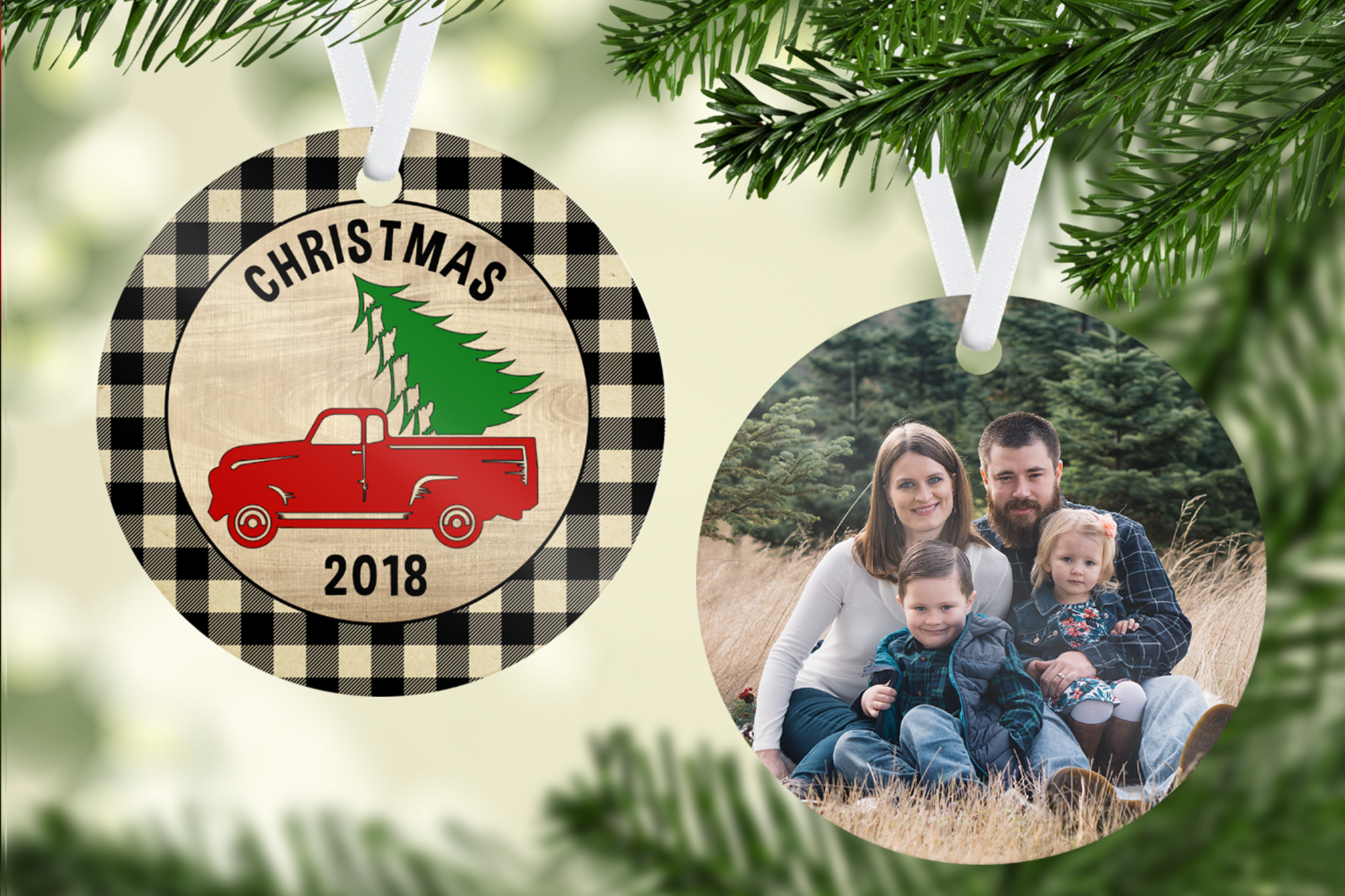 Plaid Christmas Tree & Truck Ornament Template example image 1