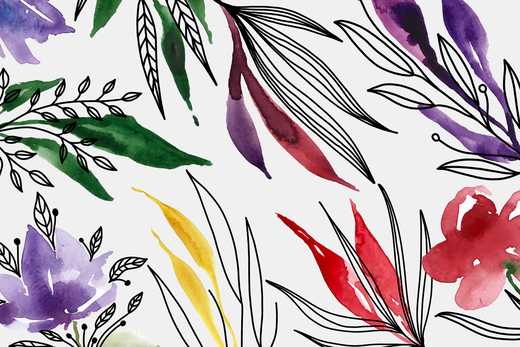 Floral Crests - Red, Purple, Yellow, Green Floral Clip Art example image 3
