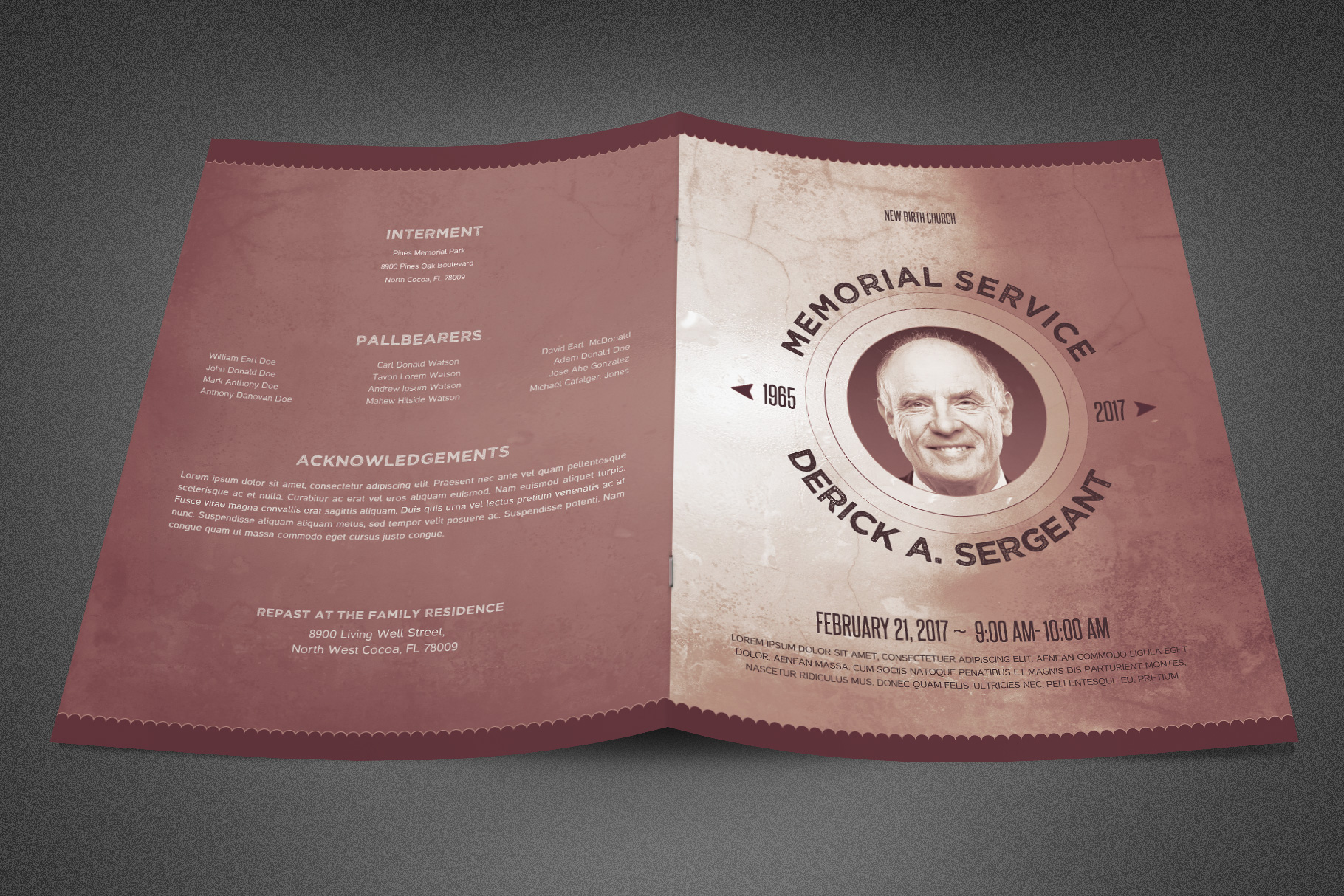 Chronicle Funeral Program Template example image 2