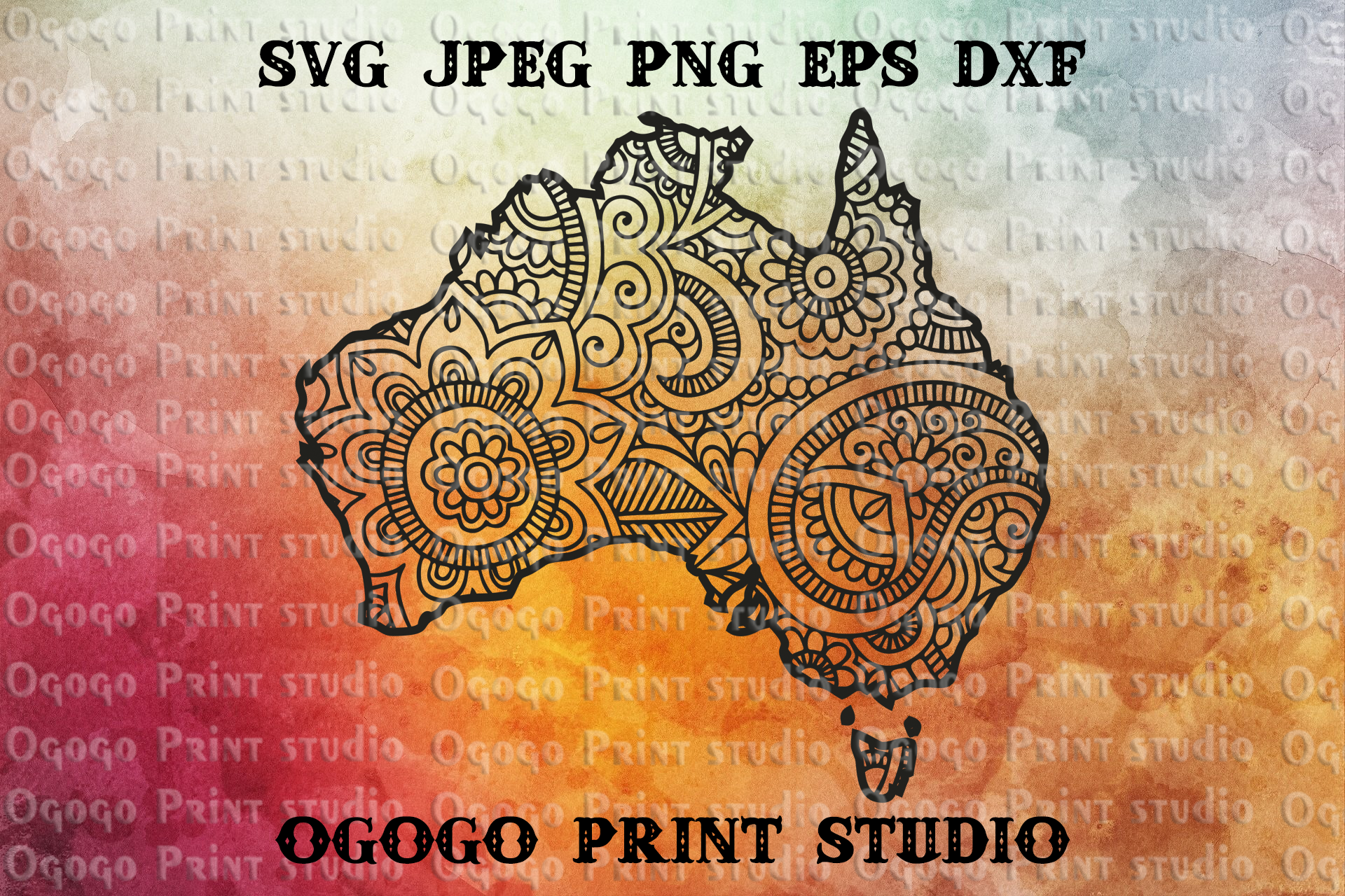 Australia SVG, Zentangle SVG, Travel svg, Mandala svg example image 1