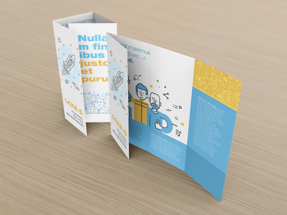 14 X 8.5 Four Panel Roll Fold Brochure Mockup example image 7