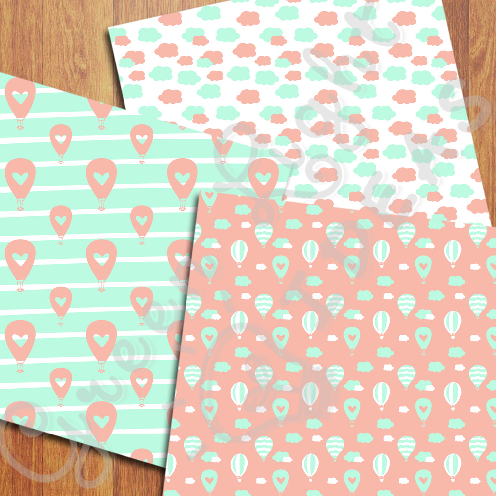 Mint and Coral Hot Air Balloons Digital Papers example image 4