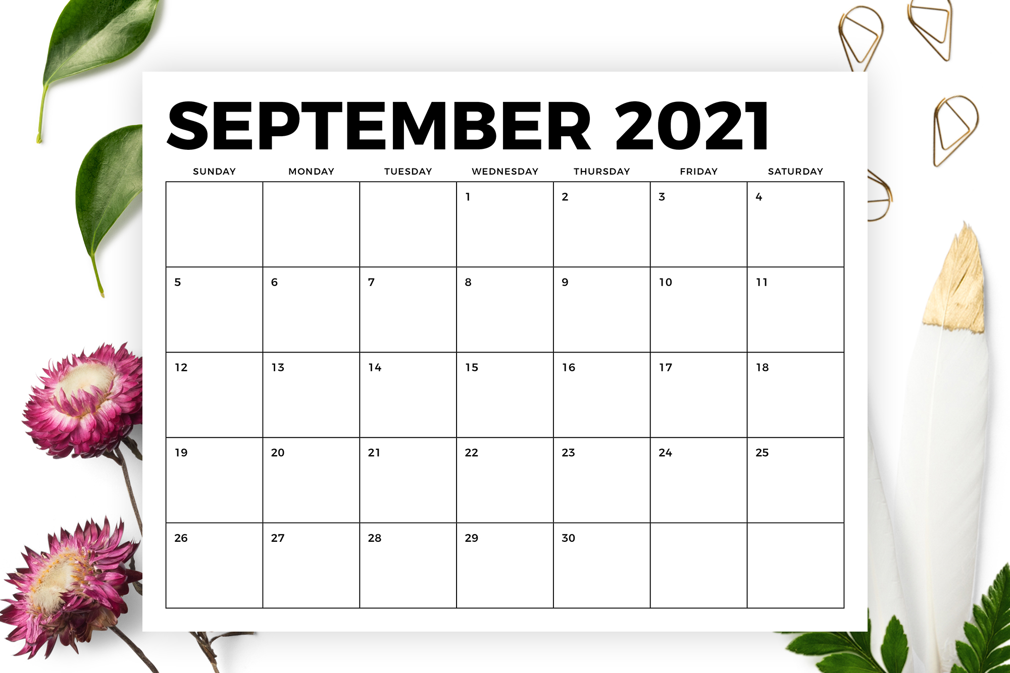 8.5 x 11 Inch Bold 2021 Calendar example image 5