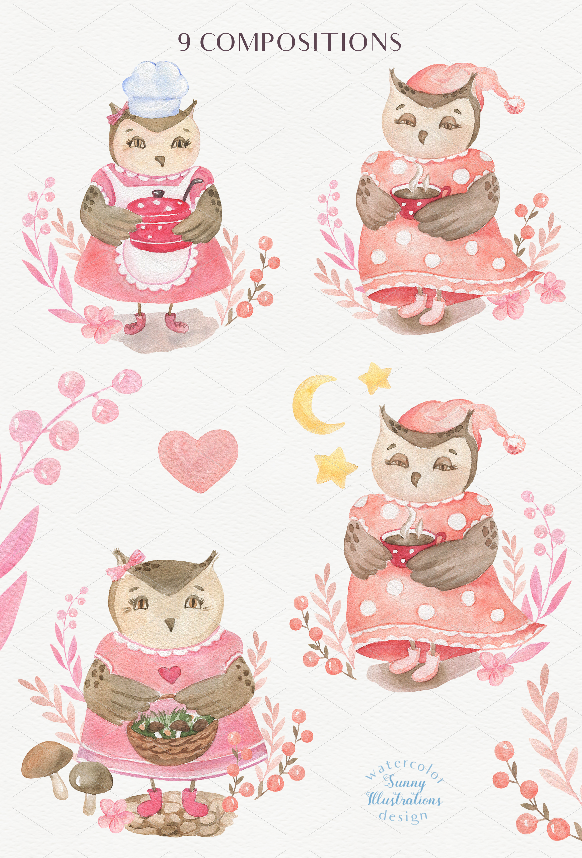 Cute Owls Collection example image 4