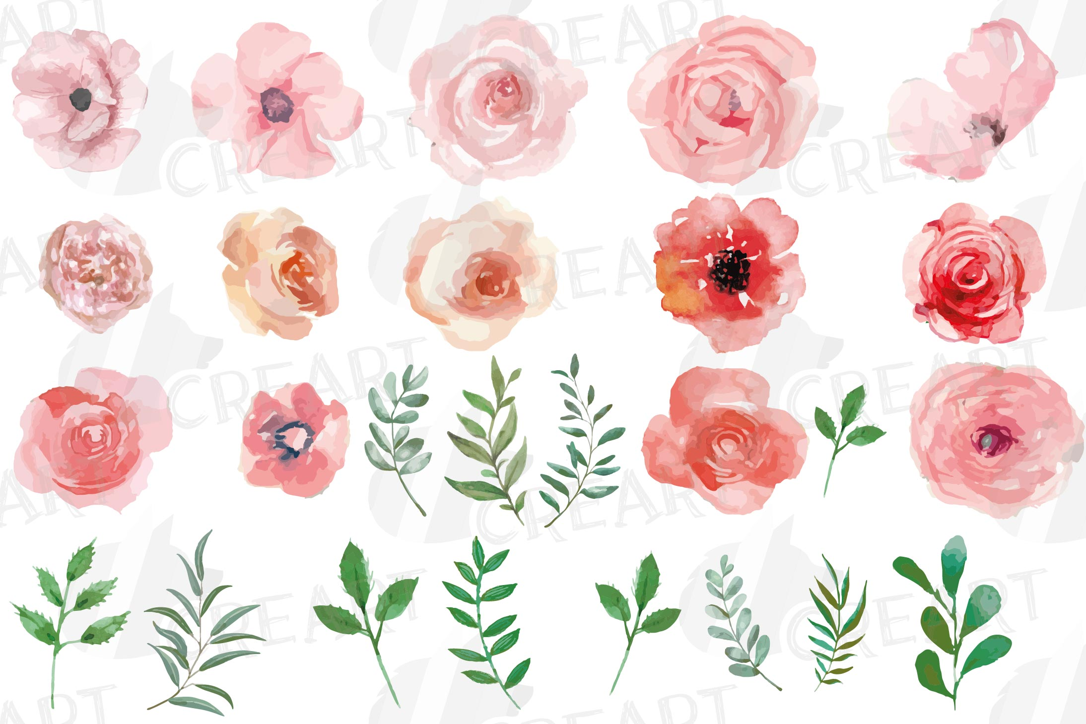 Blush watercolor floral wedding clip art, pink flowers leafs example image 4