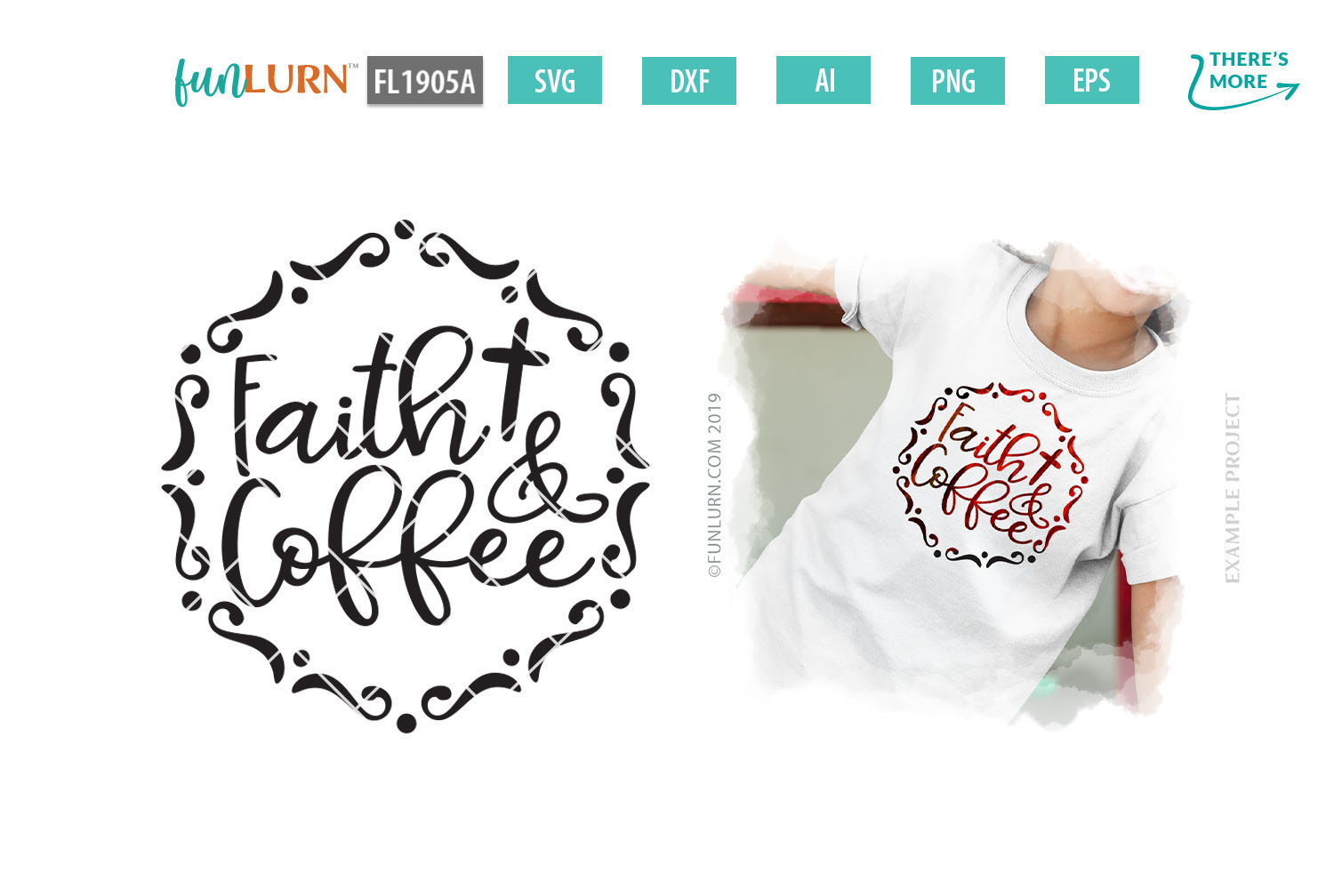 Faith and Coffee SVG Cut File example image 1