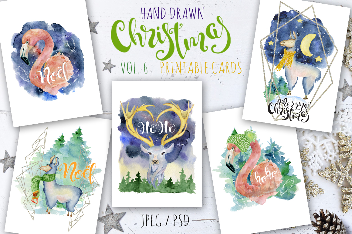 Magical Winter Bundle. Big Watercolor and lettering collection example image 7