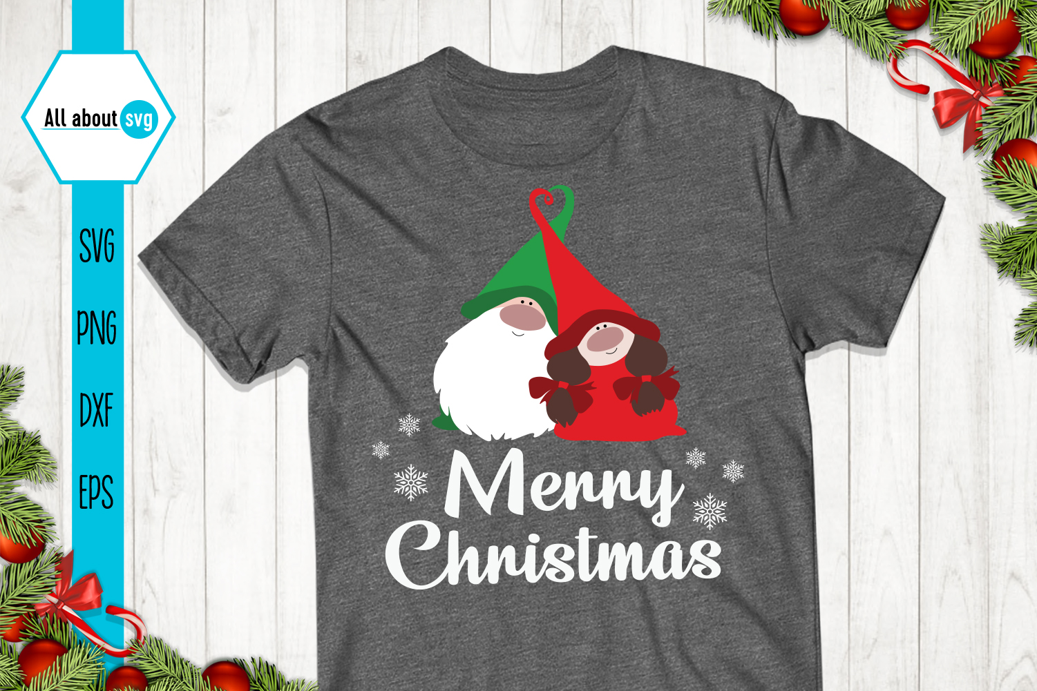 Merry Christmas, Gnome In Love Svg example image 2
