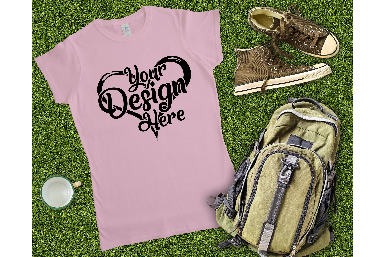Gildan 64000L Ladies T-Shirt Camping Mockup Bundle Flat Lay example image 7