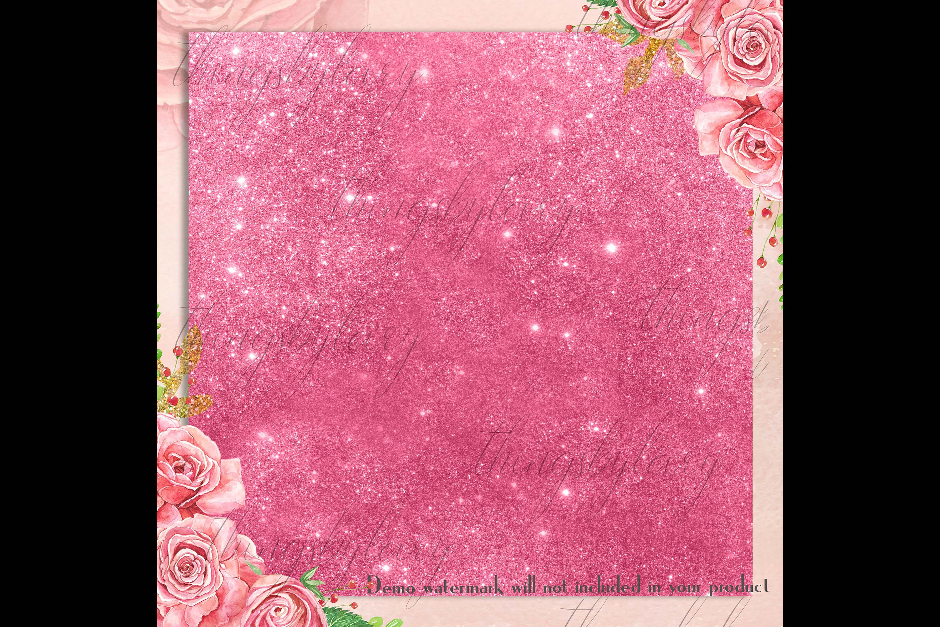 42 Blush Pink Princess Baby Glitter Sequin Digital Papers example image 3
