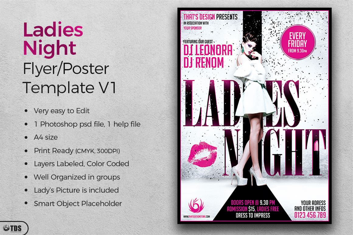 Ladies Night Fyer Poster Template V1 example image 3