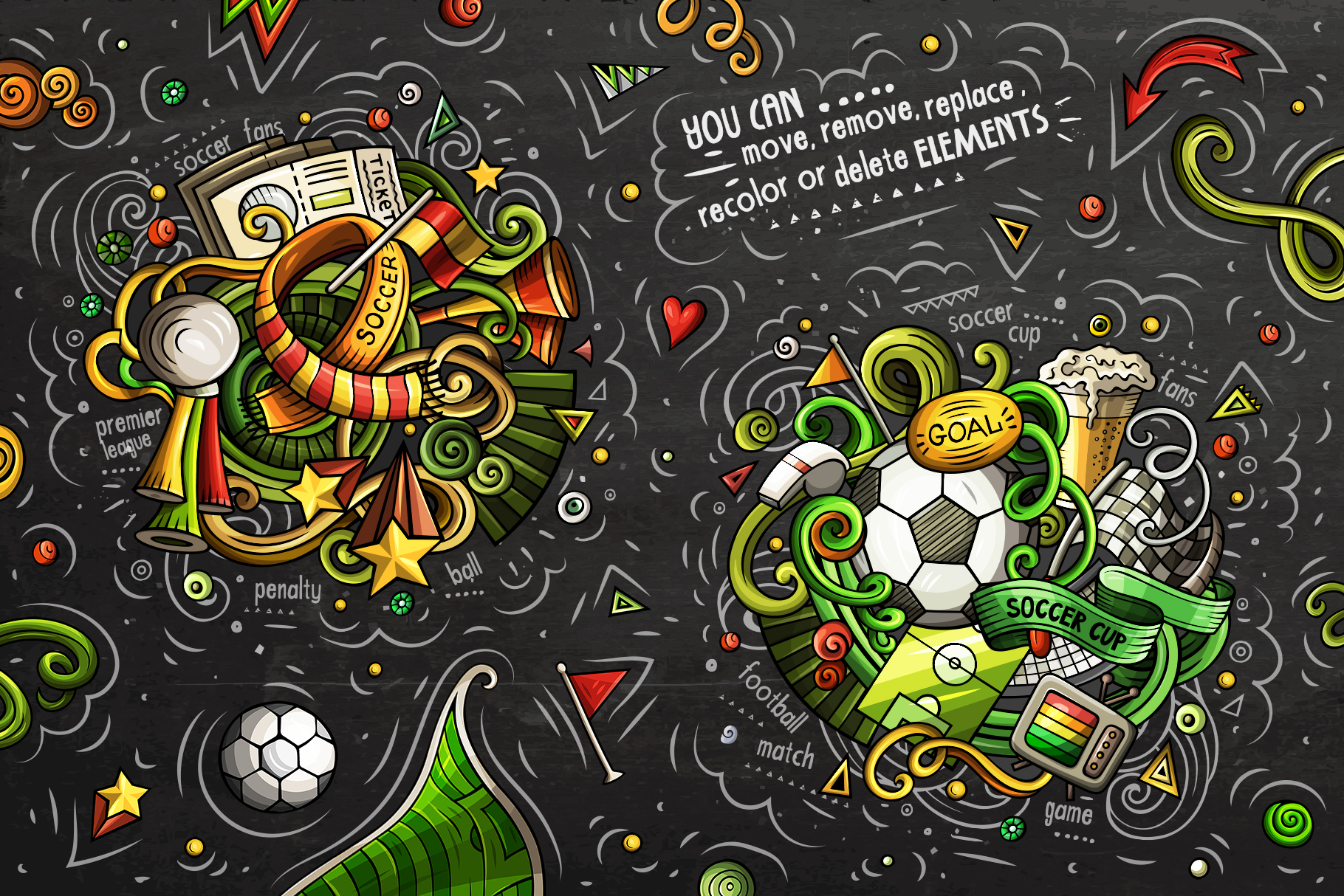 Soccer Cartoon Doodle Big Pack example image 4
