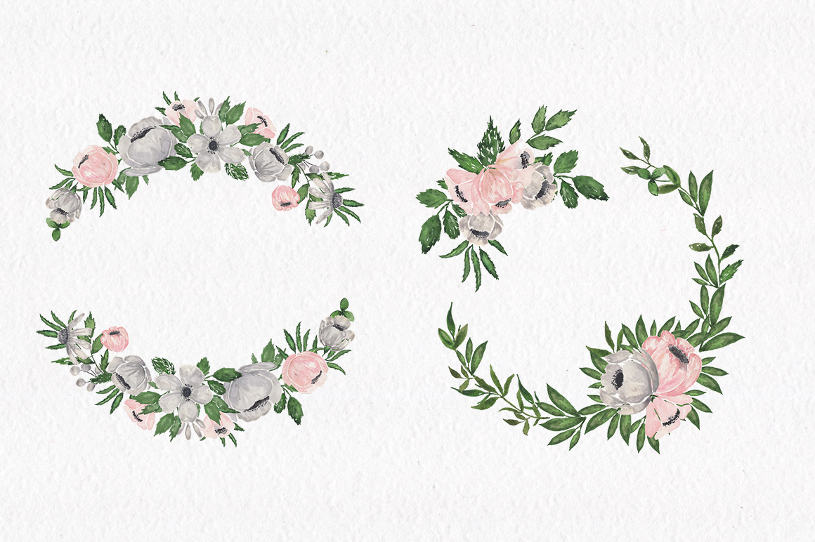 Gray and Pink Blooming. Watercolour clipart collection. example image 8