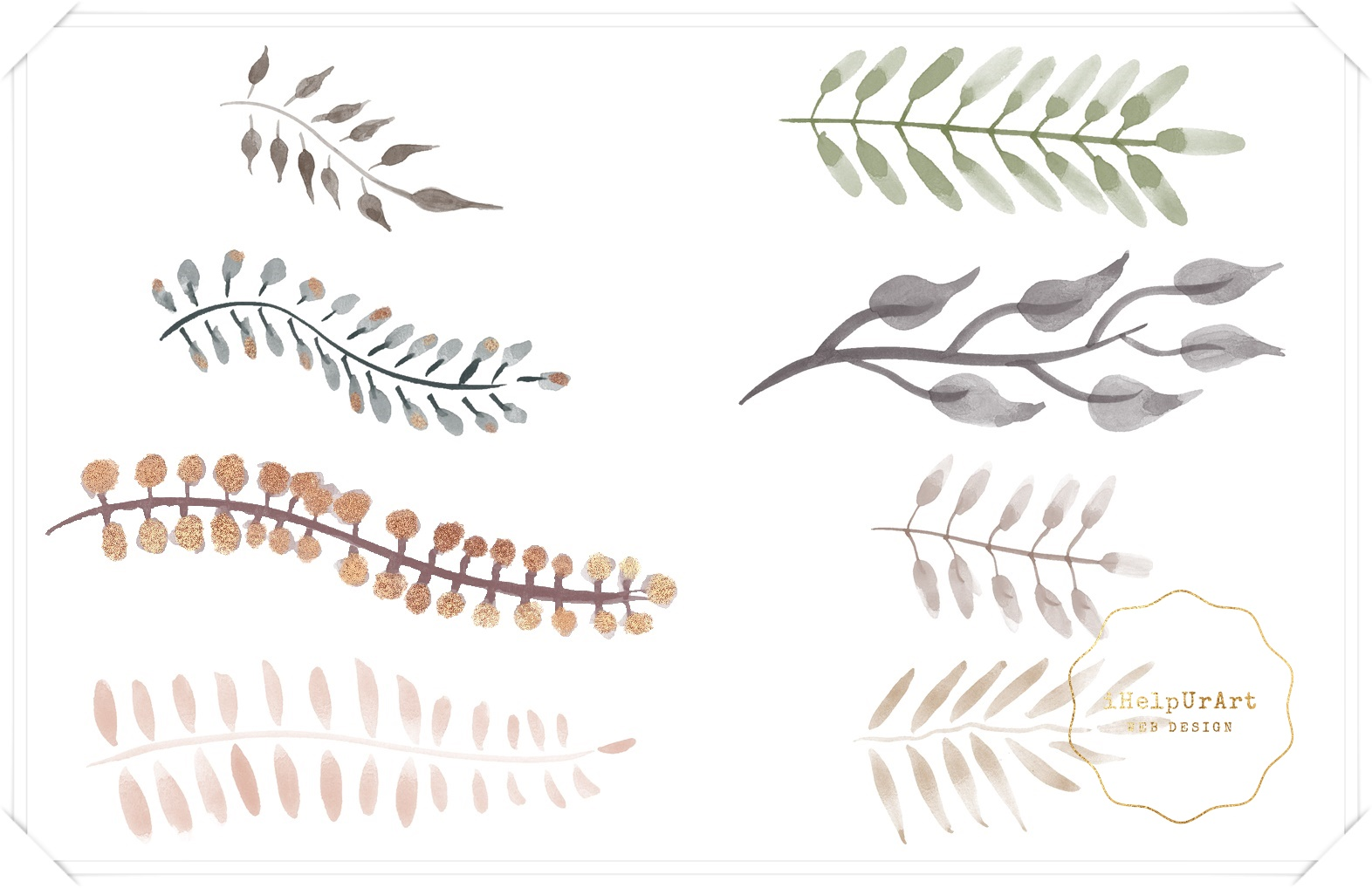 Watercolor and Copper Botanical Cip Art example image 4