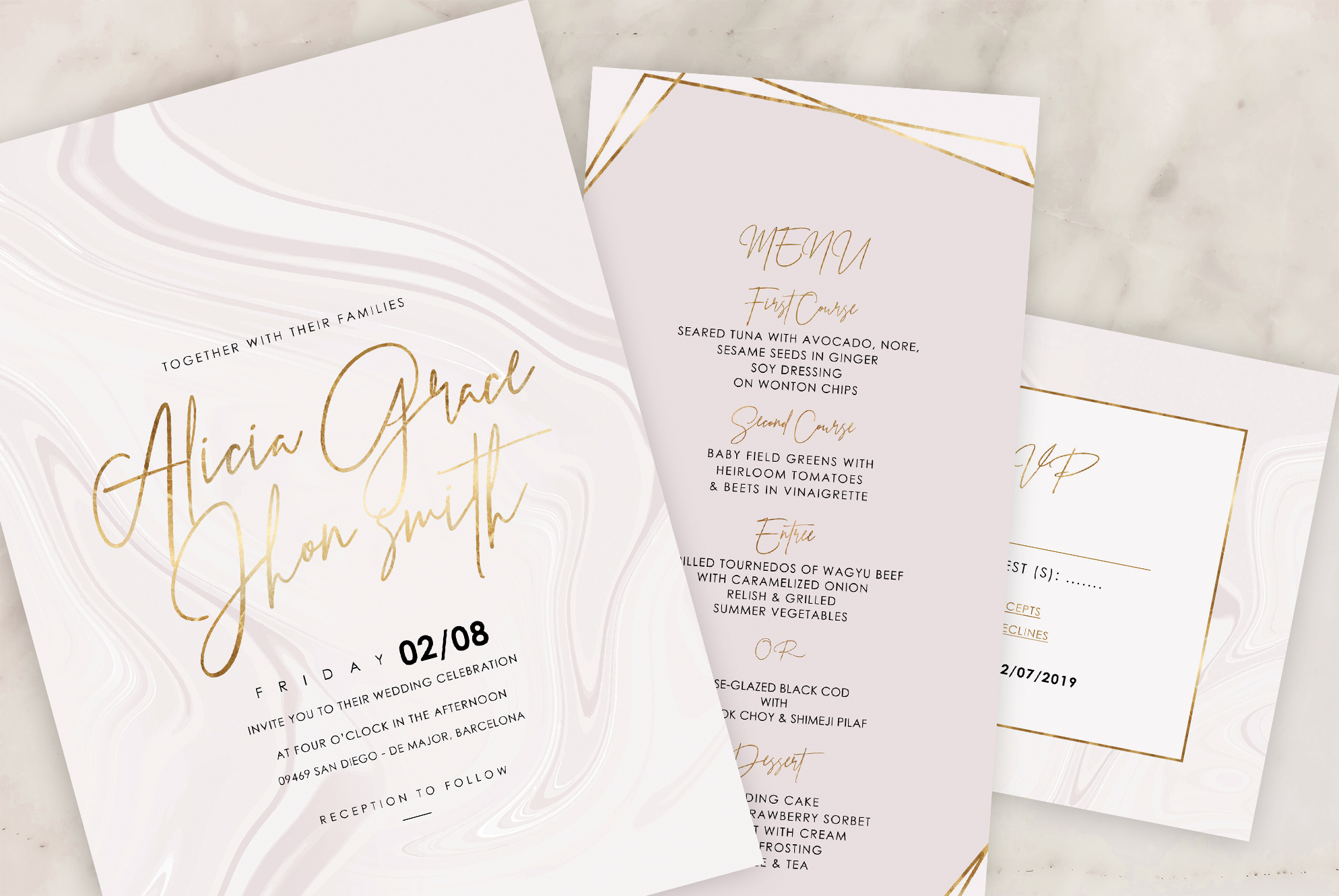 Marble Wedding Invitation - 6 Collections example image 7