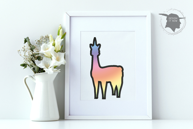Unicorn LLama Applique Embroidery Design, Unicorn Embroidery example image 5