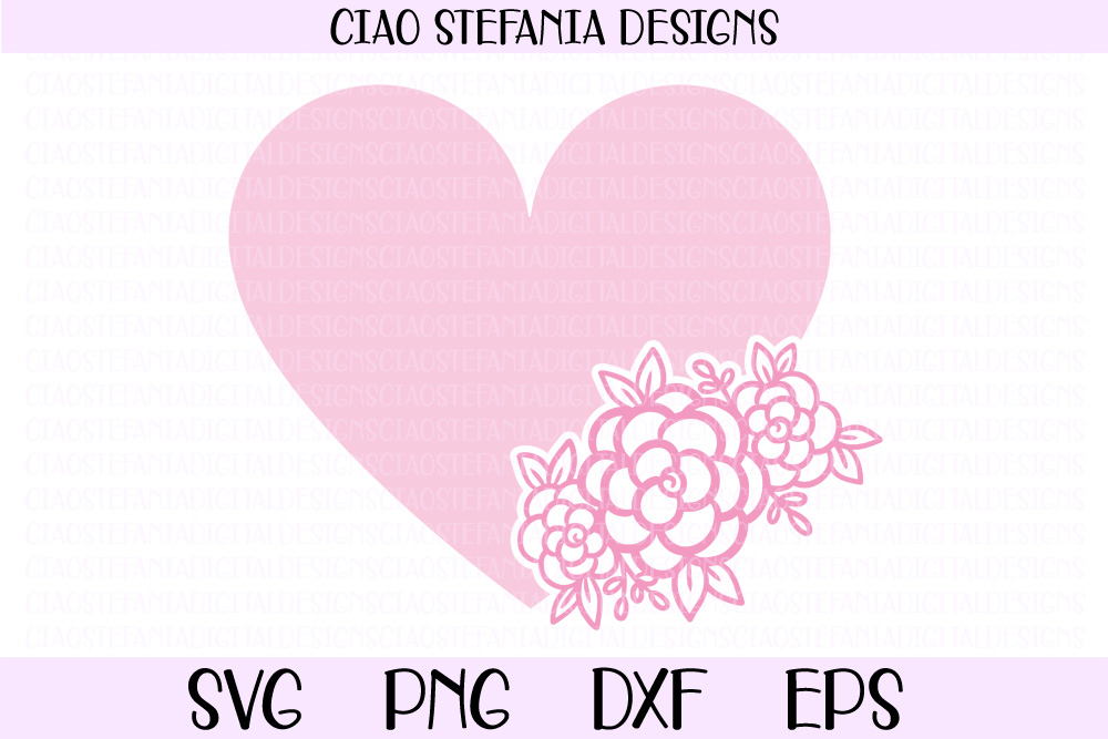 Floral Heart Flowers SVG PNG DXF EPS Cut File example image 1