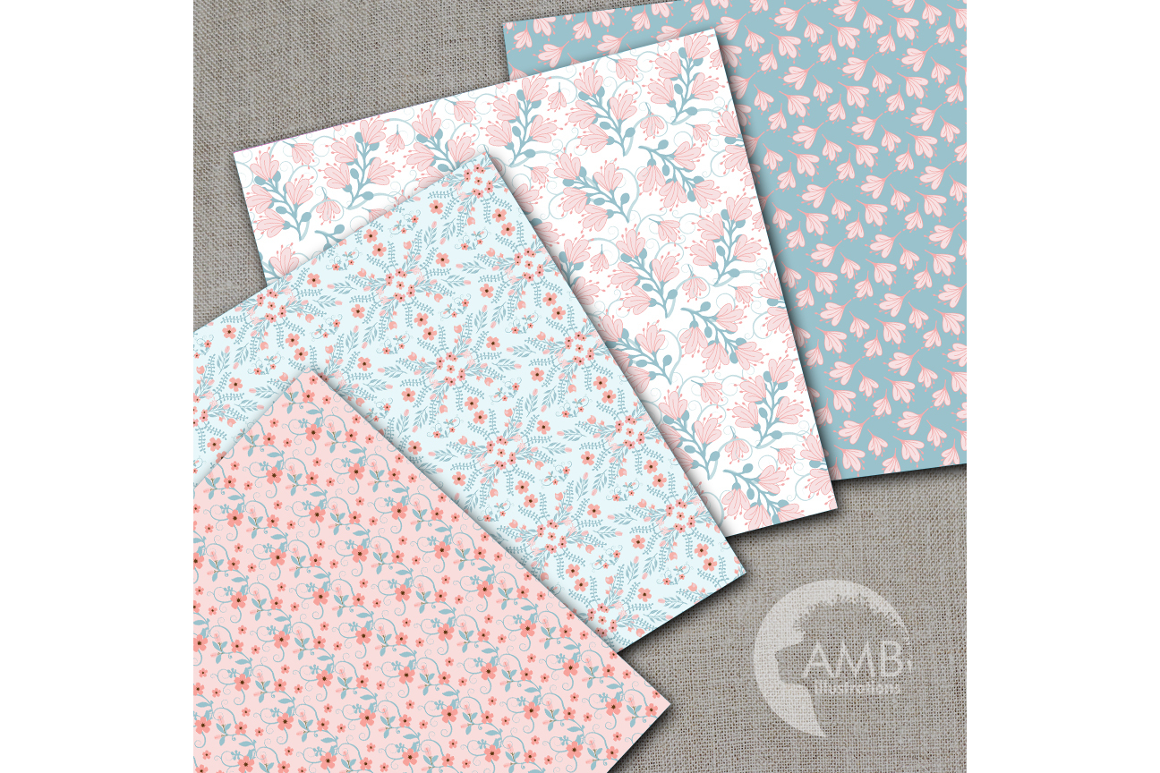 Floral papers, Shabby Chic Papers, Pink and Teal Florals, scrapbook papers, digital paper, commercial use, AMB-1443 example image 2