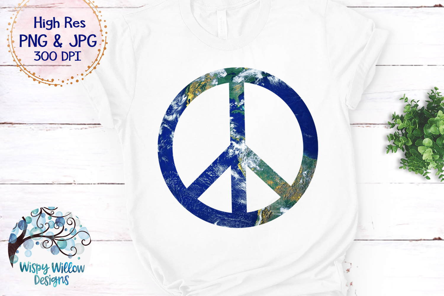 Earth Peace Sign PNG | Sublimation | Hippie | World Peace example image 2