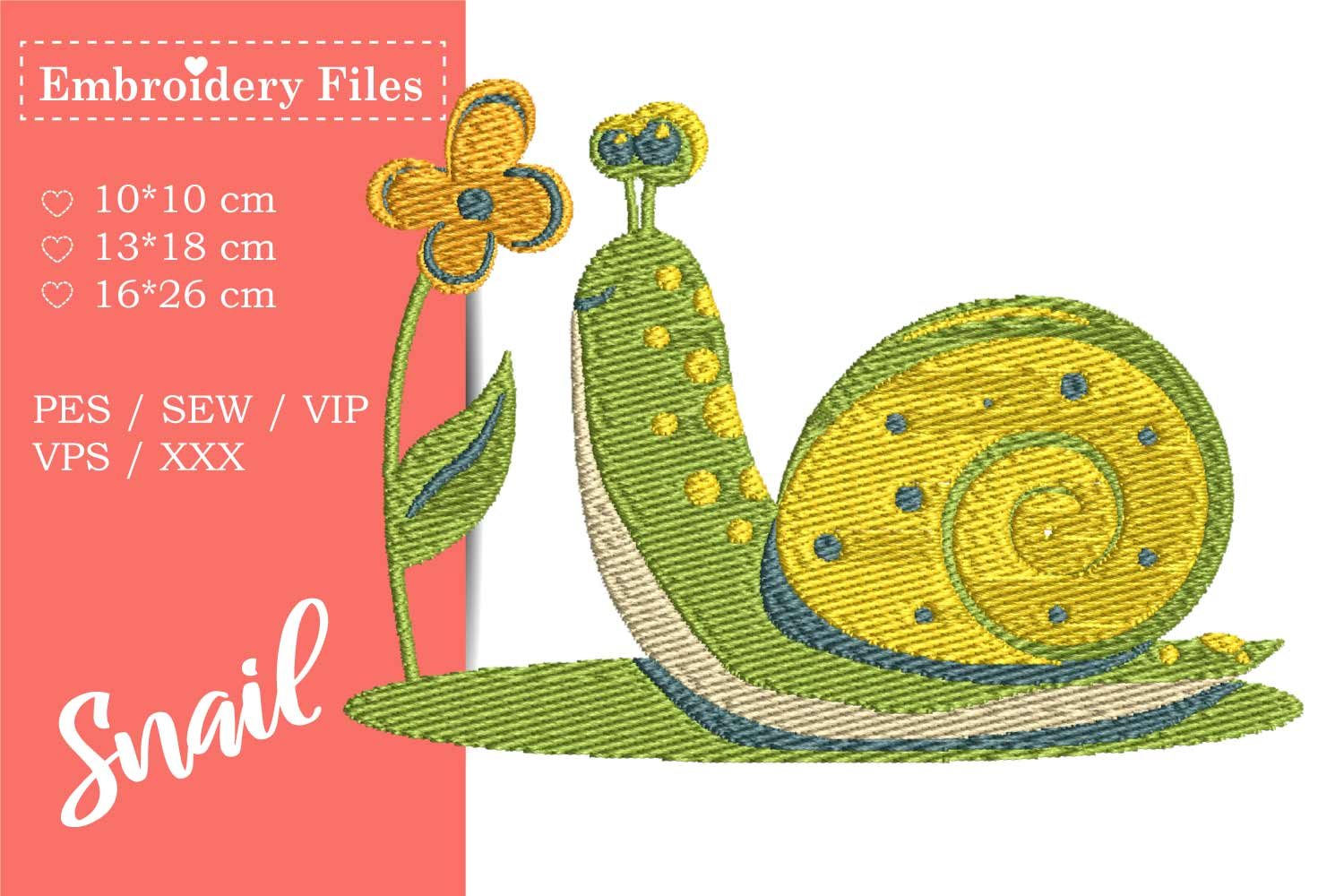 A cute Snail - Embroidery File for Beginners example image 1