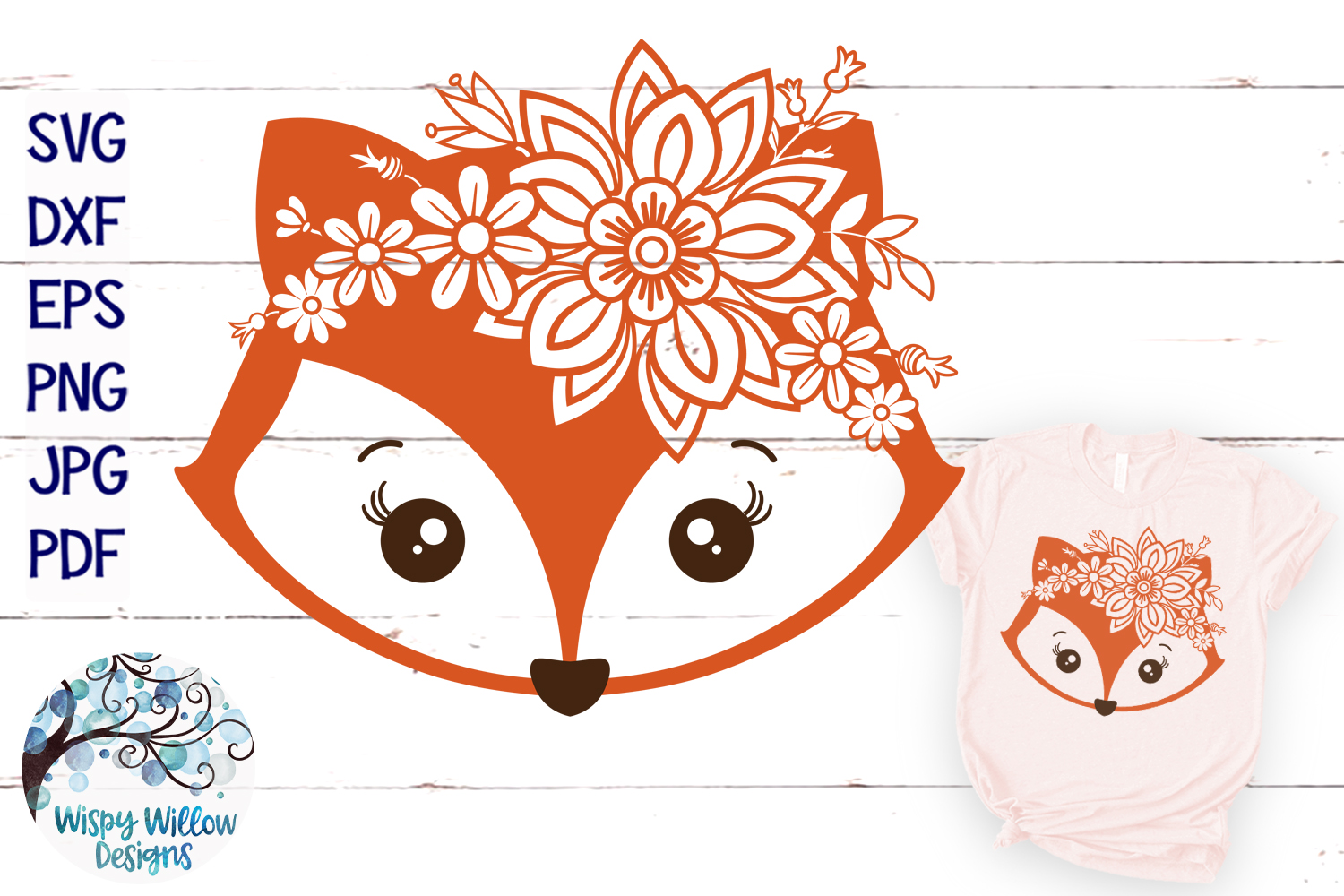 Floral Fox SVG | Girl Fox Face SVG Cut File example image 1