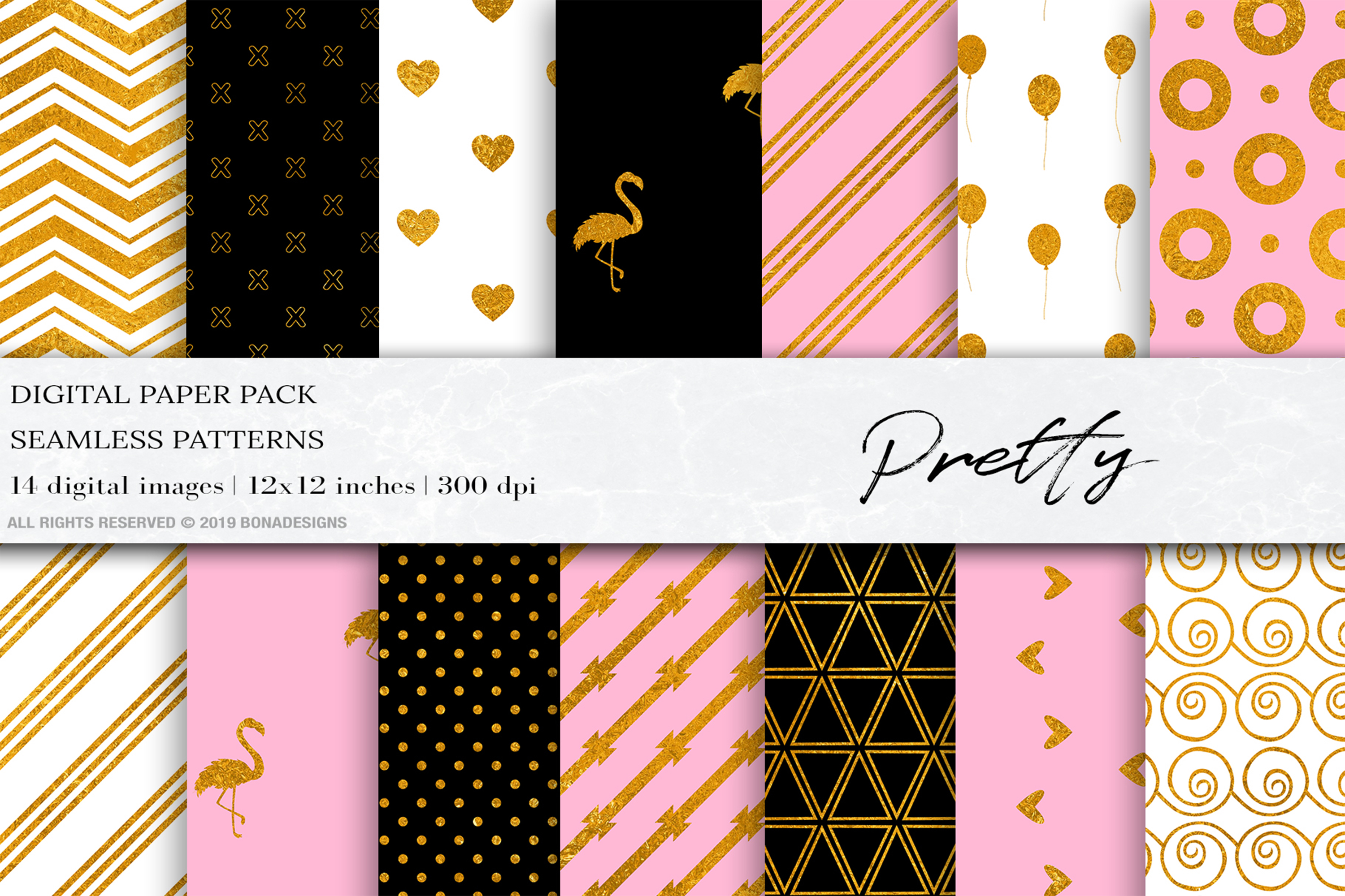 Pretty Flamingo Digital Papers, Gold Seamless Patterns example image 1