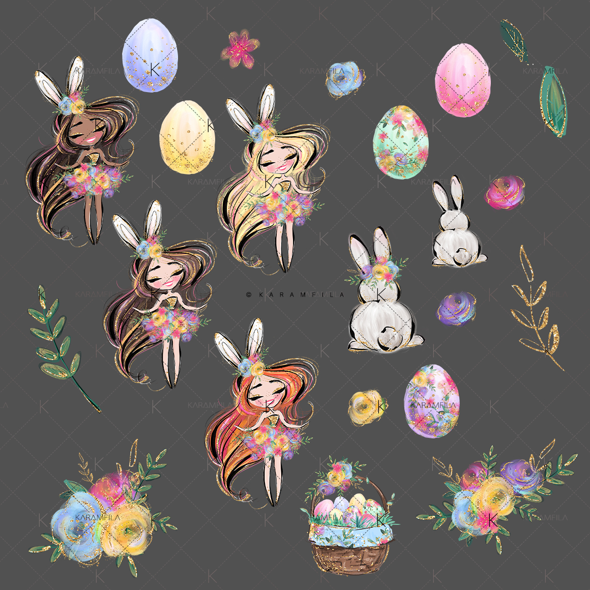 Easter Eggs Bunny Fairy Clipart example image 3