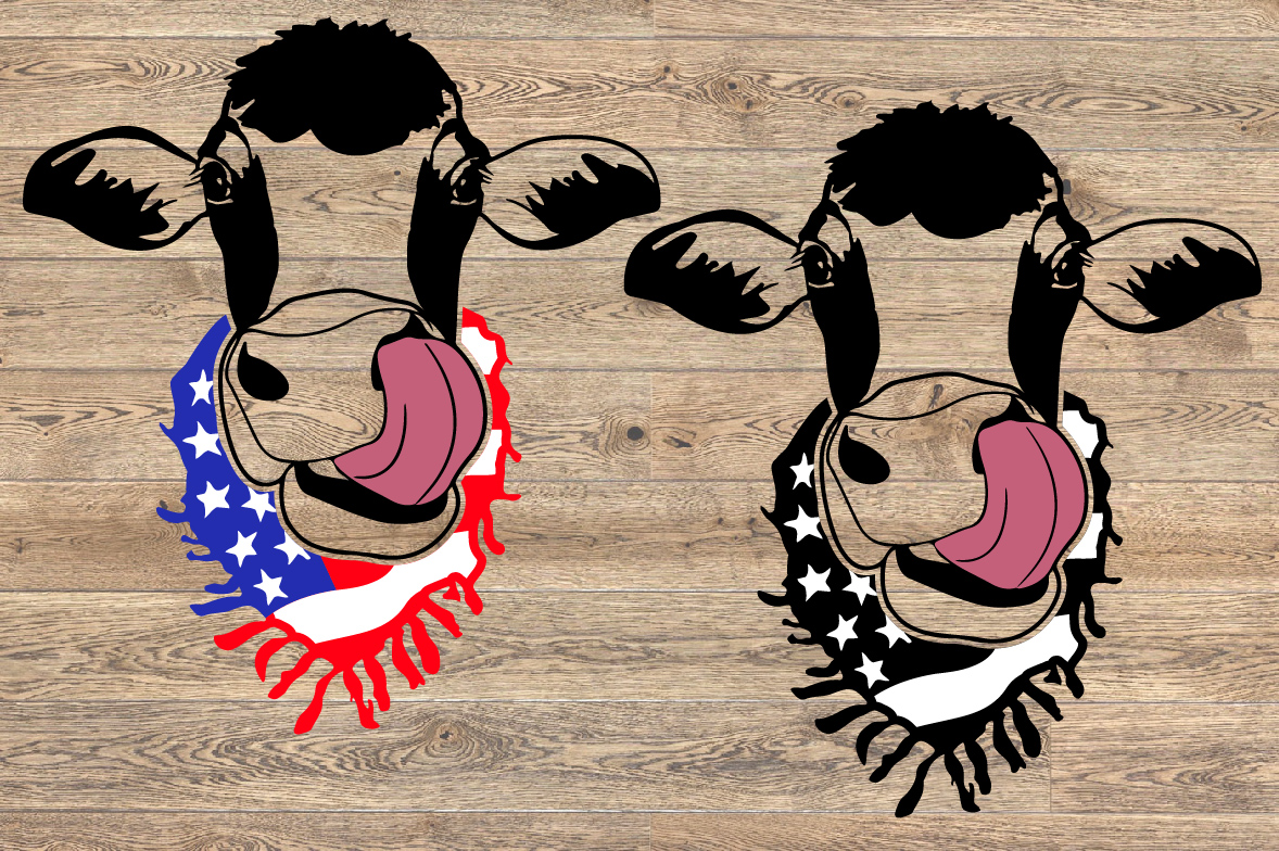 Cow Head whit Scarf US flag SVG Not today heifer 1302s example image 2