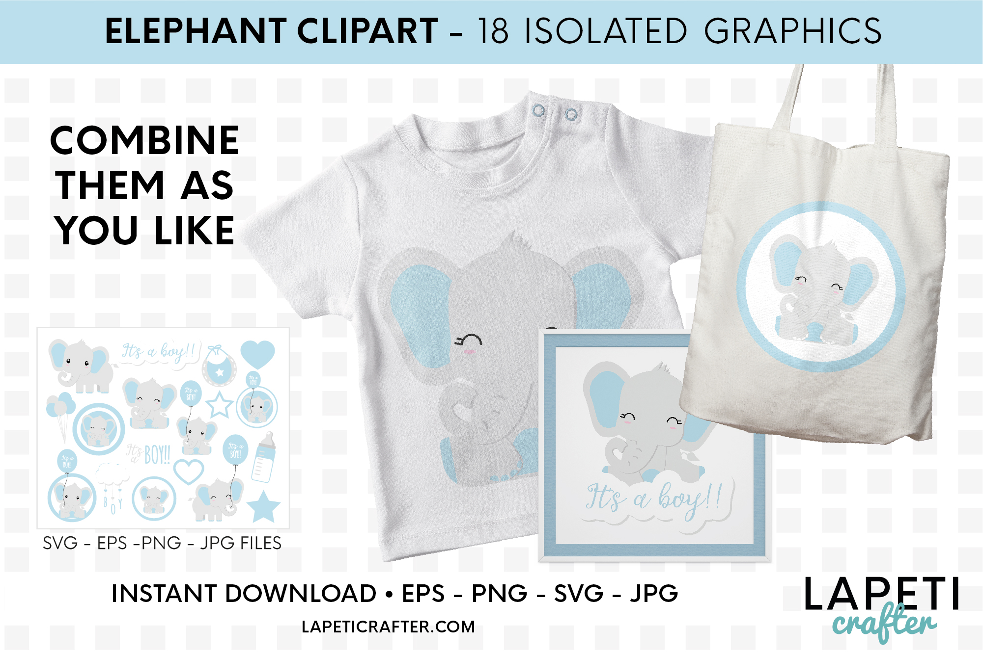 Its a boy Elephant clipart, gender reveal, baby shower svg example image 3