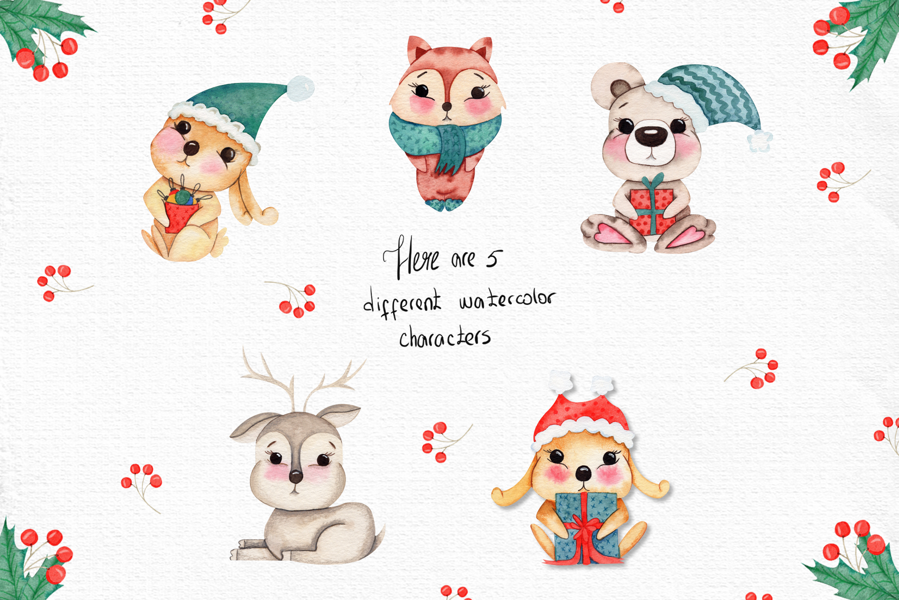Watercolor Winter Friends example image 2