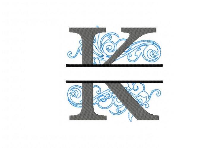 Embroidery Fonts Split Monogram, Monogram K, 4X4 5X7 6x10 example image 2