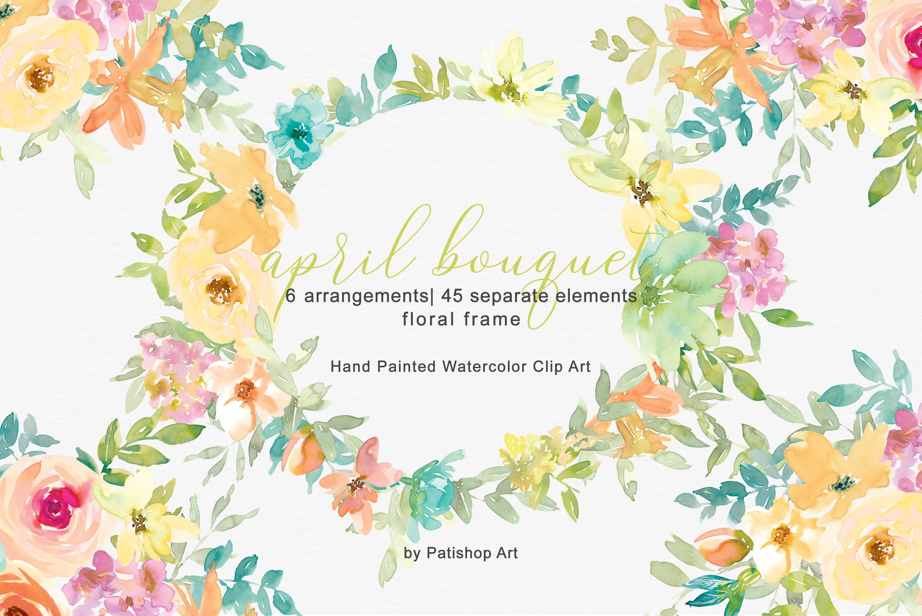 Pastel Spring Watercolor Floral Bouquets Separate Elements