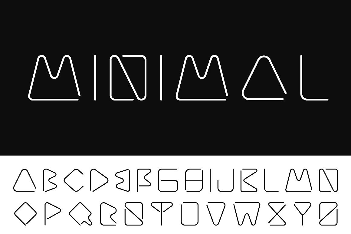 Creative minimalistic font. B&W example image 1