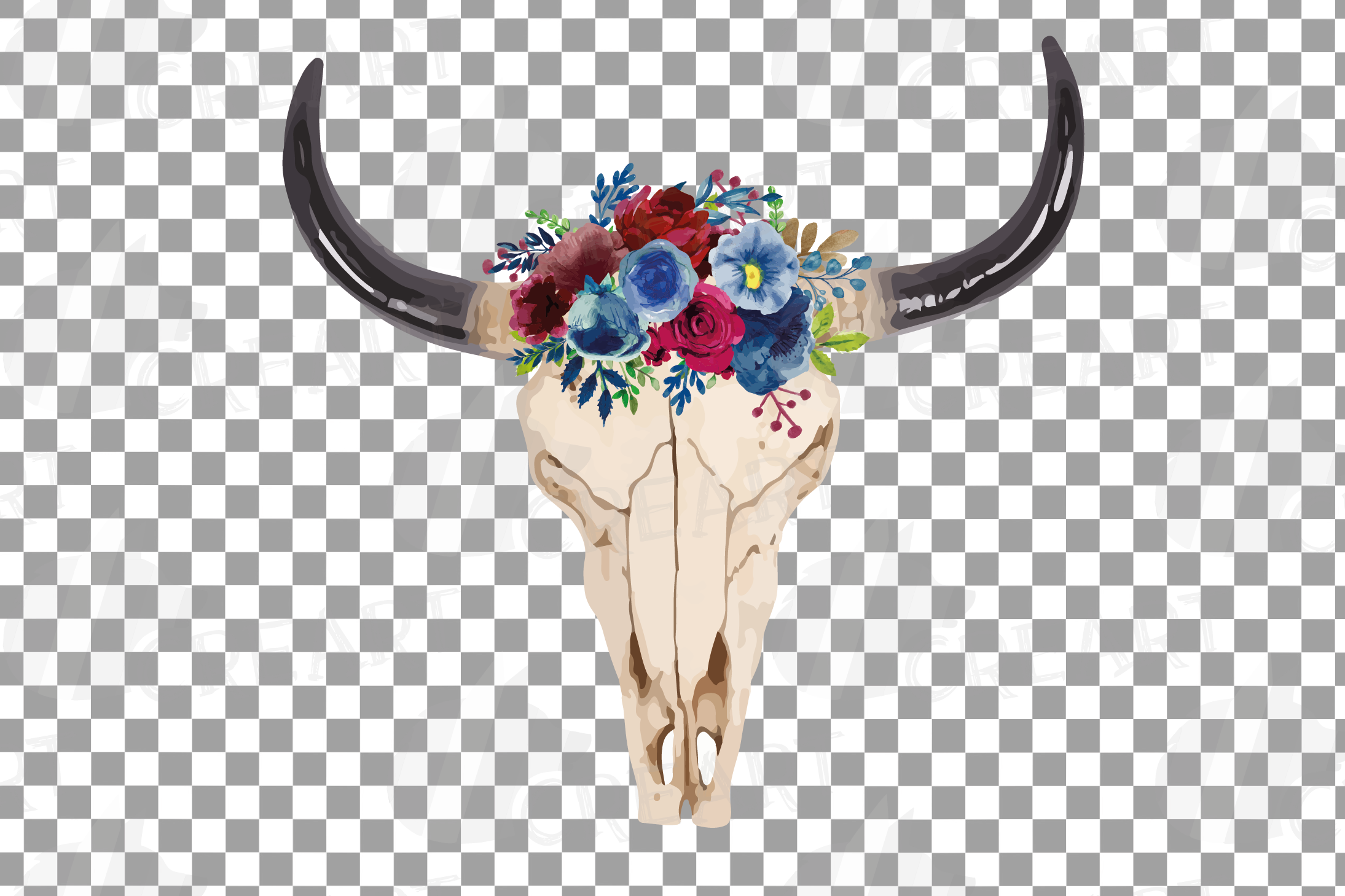 Watercolor Floral Bull Skull clipart, Indian Tribal vector example image 4