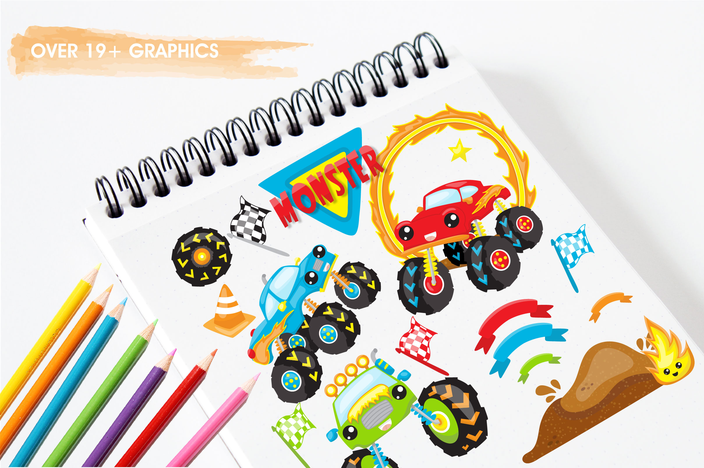 Monster truck graphics and illustrations example image 5