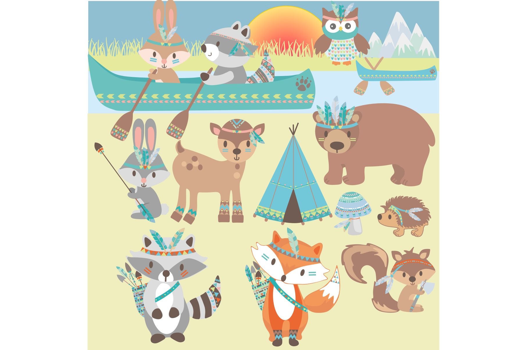 Tribal Animals Clipart example image 3