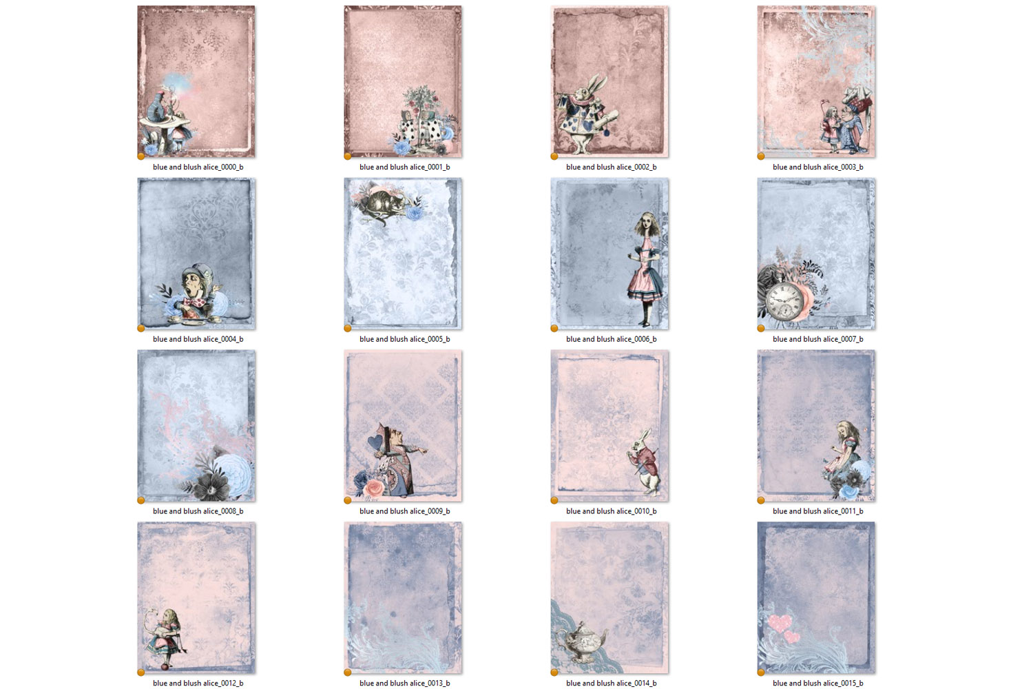 Dusty Blue and Blush Pink Alice in Wonderland Journal Paper example image 4