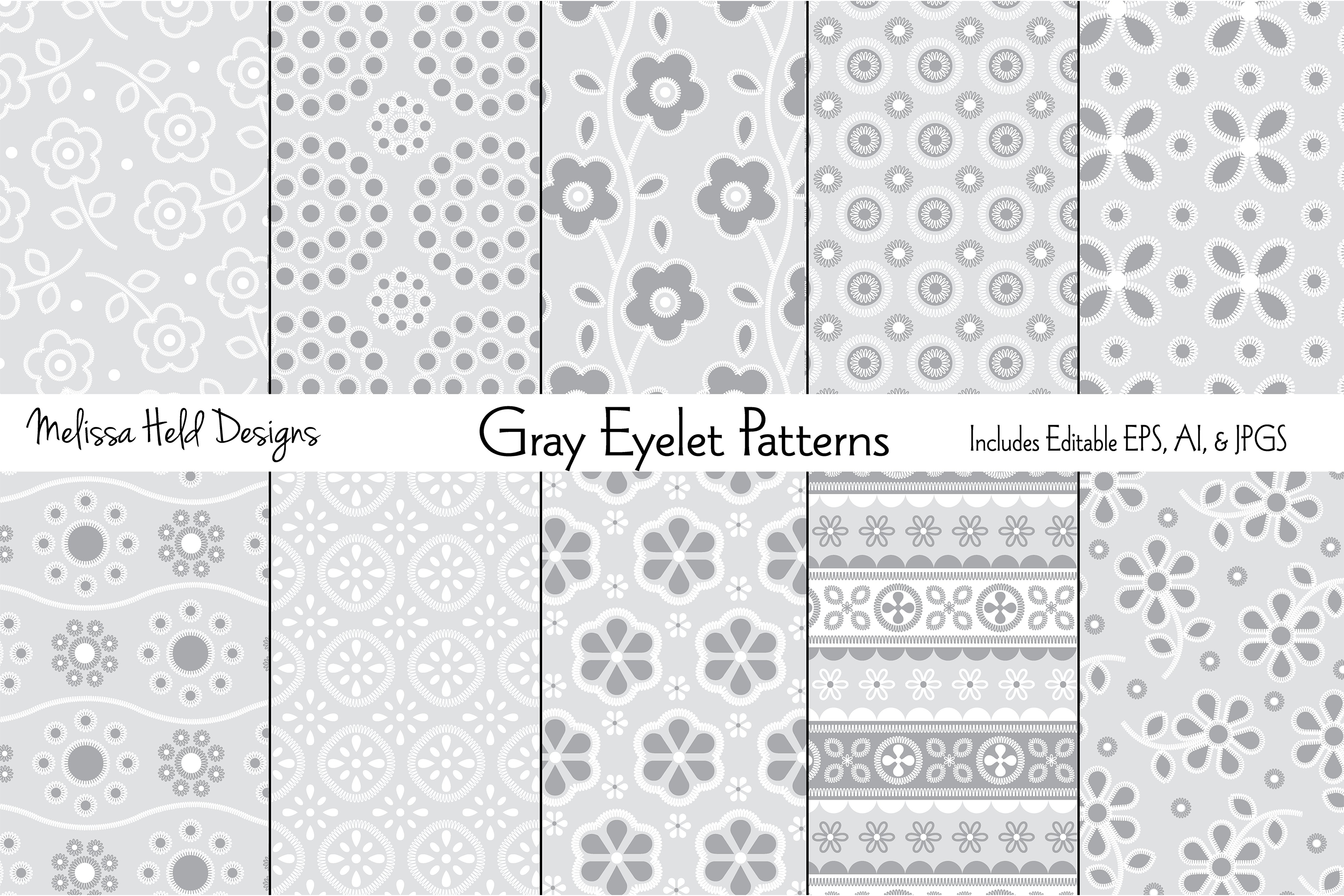 Gray Eyelet Embroidery Patterns example image 1
