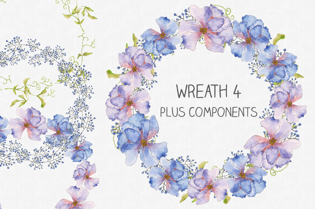 Watercolor clip art bundle of pinky blue Cornflowers example image 5