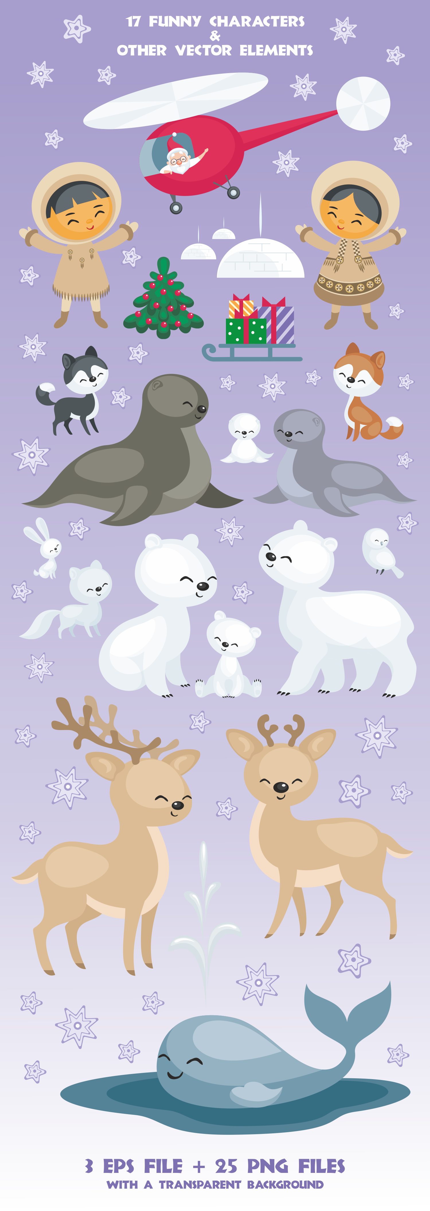 Arctic Christmas. Vector clip arts example image 2