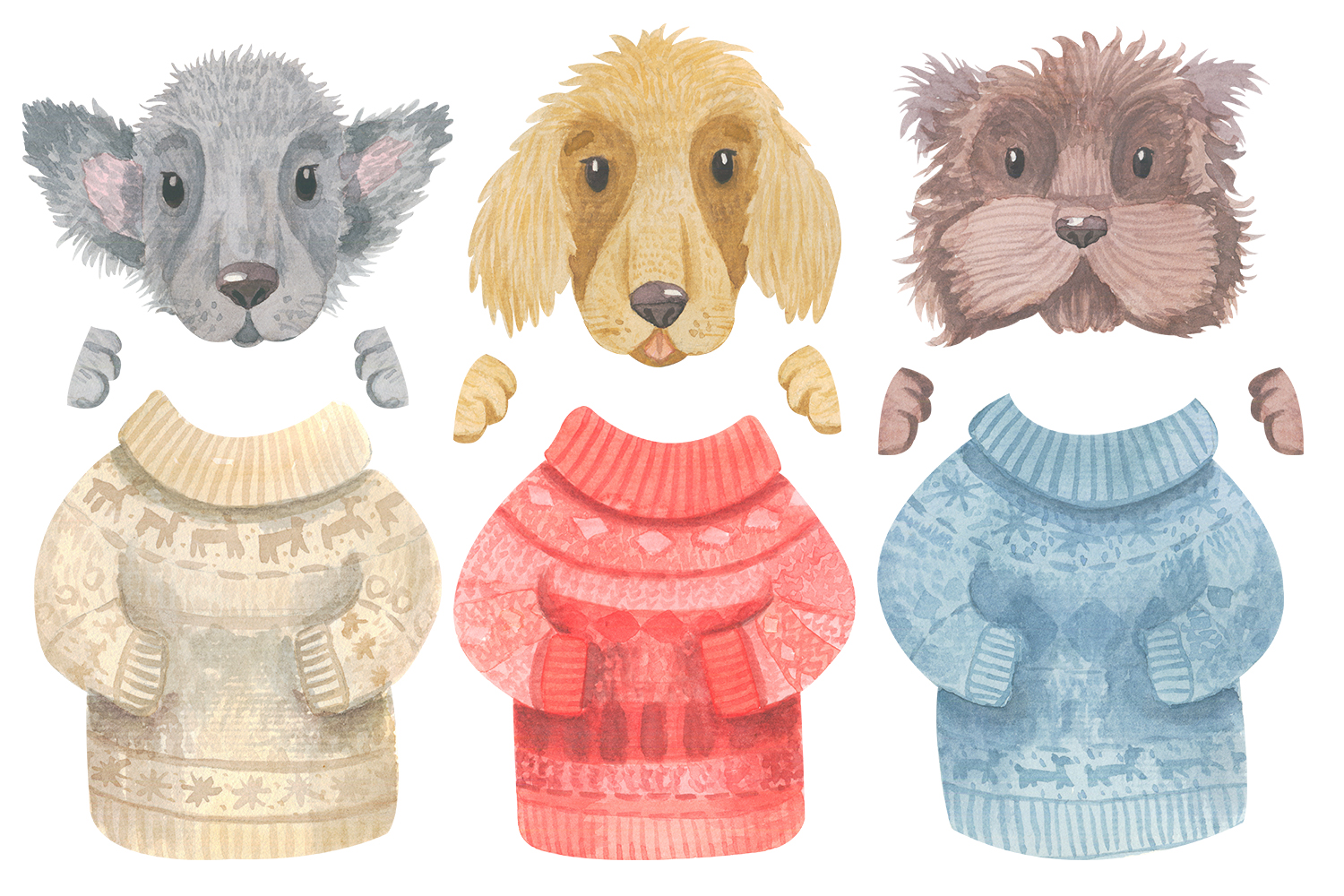 Winter Dogs Watercolor Clipart Collection example image 6